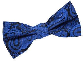 Paisley Royal Blue Bow Tie
