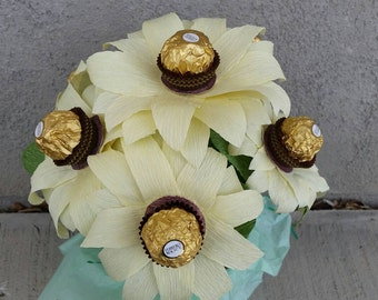 Crepe Paper Sunflowers with Ferrero Rocher Centers