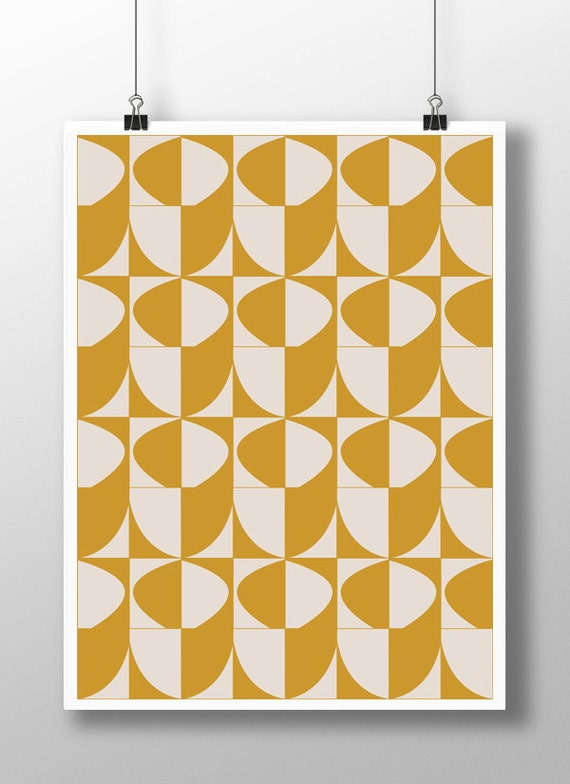 Mustard Yellow Decoryellow Wall Artyellow Artworkmidcentury