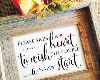 Please sign a heart to wish the couple a happy start (Styish) (Frame NOT included)