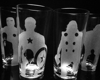 The Avengers Inspired -Pint Glasses - Set of 4 -Iron Man -Captain America -Thor -Hulk