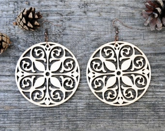 Circle Laser Cut Wood Earrings