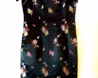 Asian Style Dress Size 10 or Medium Black with Embroidered Flowers