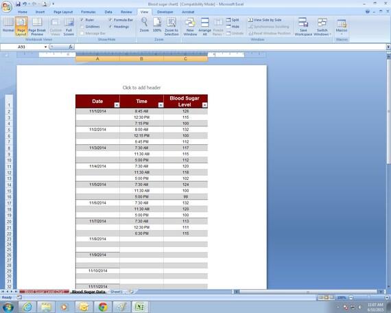 blood glucose chart template .