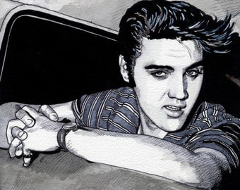 Greetings Card - ELVIS PRESLEY 1956 # 03, Fine Art Greetings Card, 15cm x 15cm, Blank Inside, from Original Pen & Ink Artwork