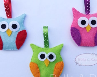 Owl Hanging Decoration in Lime and Orange Felt