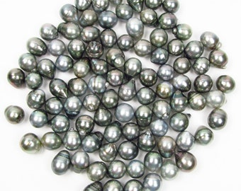 10 Pieces 11-12mm Baroque Tahitian Silver / Gray Pearl