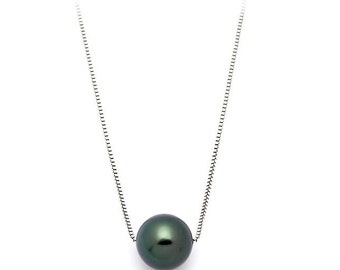"""18"""" 10-11mm Genuine Black Pearl 14K Gold Chain Necklace"""