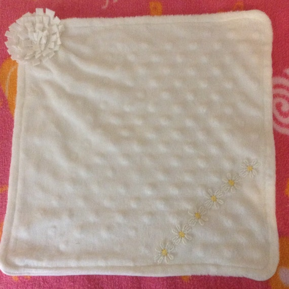White microfleece dot lovey mini blanket