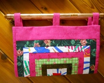 Quilted Orphan Block - Office Organization - Wall File Holder - Charging Station - Fabric Folder - Reversable!