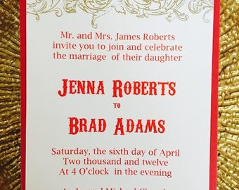 Red and gold invitation with embossing for a wedding, bridal shower, engagement party
