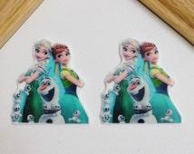 Frozen Elsa and Anna Planar Resin Set of 2 - Frozen Forever Cabochon - Frozen Forever Bow Center - Elsa and Anna Cabochon - Frozen Cabochon