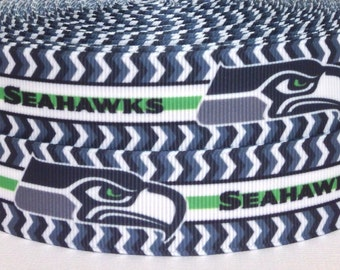 "3 yards 1"" Seattle Seahawks Grosgrain Ribbon - Seahawks Ribbon - 3 yards Seahawks Grosgrain Ribbon - 1"" Seattle Seahawks Grosgrain Ribbon"