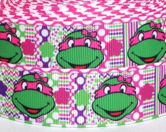 "3 yards 1"" Girls Teenage Mutant Ninja Turtles Grosgrain Ribbon-3 yards Ninja Turtles Grosgrain Ribbon-1"" Pink Ninja Turtles Grosgrain Ribbon"