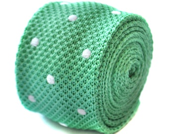 skinny knitted pale green mint and white polka spot tie by Frederick Thomas FT1890
