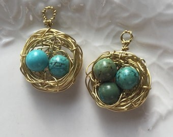 Bird's nest pendant with chain
