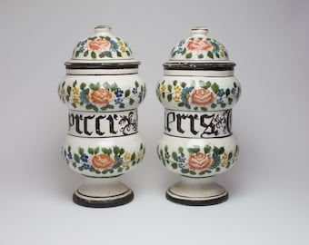 Pair of late 19th/ early 20th century Italian majolica pottery albarelli