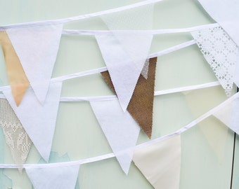 Lace bunting, white lace bunting, cream bunting, white bunting, white lace flags, lace wedding bunting, hessian bunting, shabby chic bunting