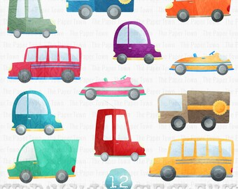 Paper Cars Clipart Set, Traffic Jam, Vehicles Clipart - Digital Cars and Trucks Clipart - 12x12 - 300 dpi. Png file. Instant Download