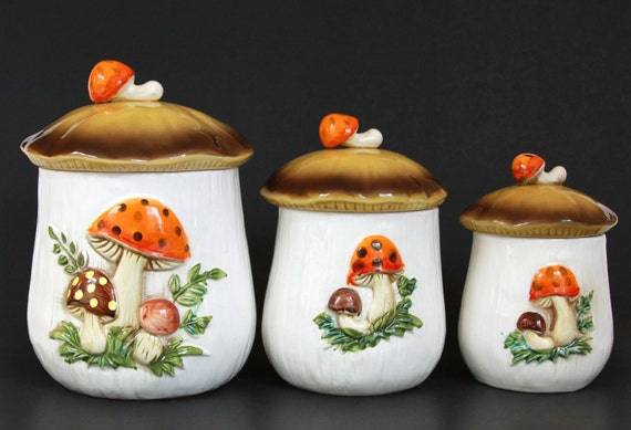 Ceramic Mushroom Canister Kitchen Set