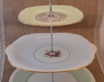 Handmade 3 Tier Cake Stand Made From Mismatched Vintage Plates (Pastels)