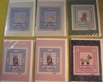 6 French themed cards, blank inside with cross stitch pattern on back, ,L'Oie,Le Cochon,Le Chien, Le Belien,with envelopes