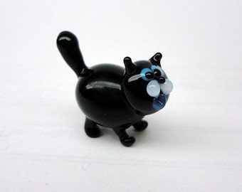 Glass cat Miniature, Animals Glass, Art Glass cat, Glass Blown cat , Sculpture Made Of Glass, Glass Art