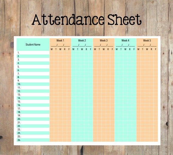 Attendance Sheet For Child Care. on parent attendance sheets weekly ...