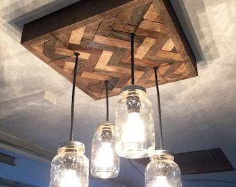 Herringbone Barn Wood Mason Jar Chandelier