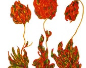 Peonies Original Art Drawing Watercolor Garden Art Stained Glass Look Wall Art Orange Yellow Greens Freehand Flowing Florals 9X12 Flower Art