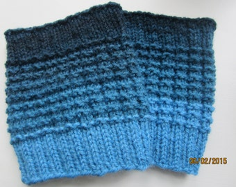 Boot Cuffs  Shades od Blue great stretch  size 10-12 extremely warm wool/acrylic  calf and thigh needs to be measured for good fit