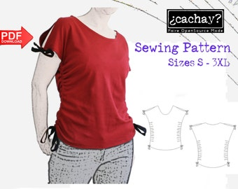 PDF Pattern For A Gathered Shirt With Open Shoulders, Instant Download