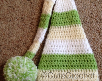 Crochet long tail newborn hat