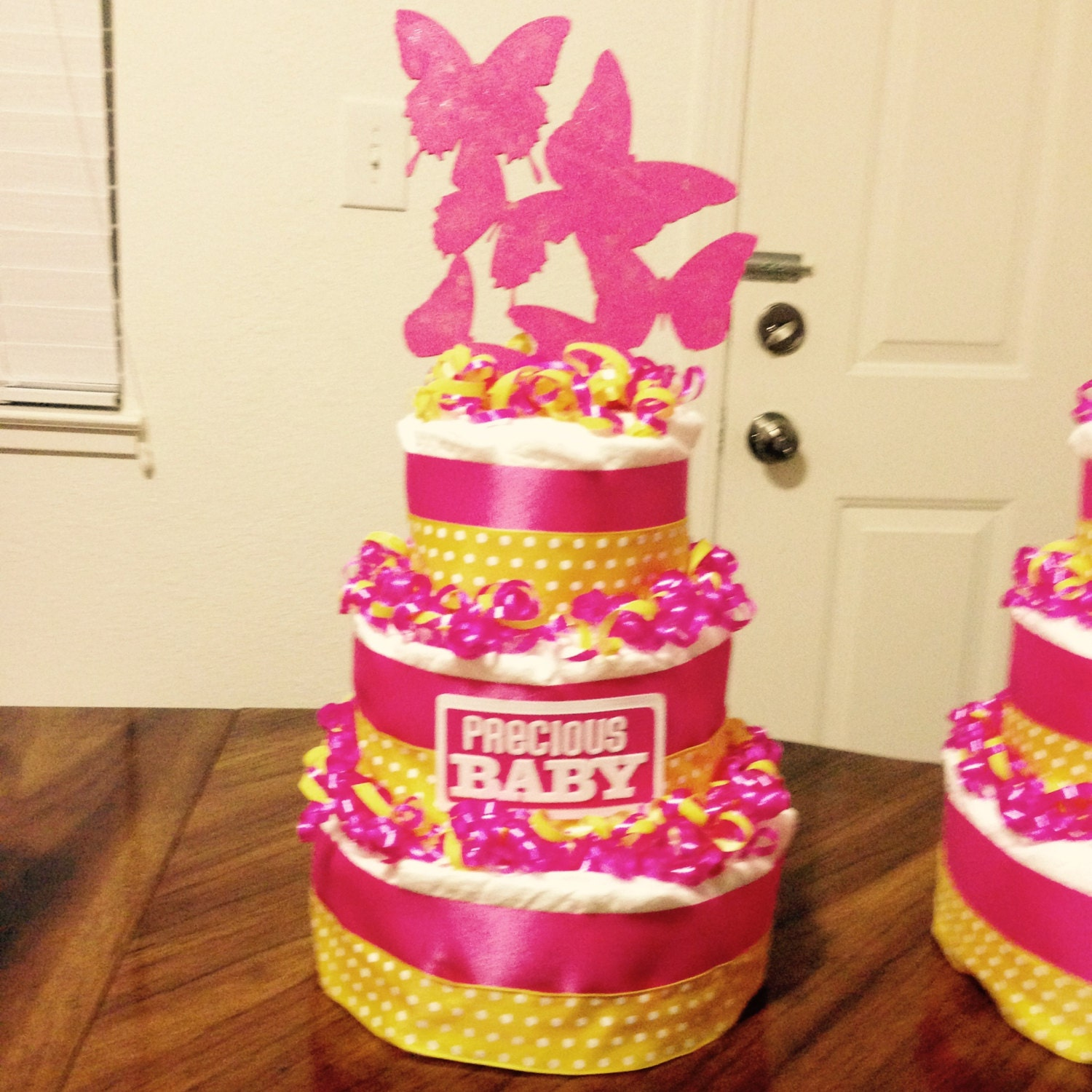 Diaper Cake Hot Pink and Yellow Baby Shower Decorations