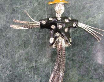 Scarecrow Brooch, Enamel, Rhinestone, Silver Tone, Figural, Oz