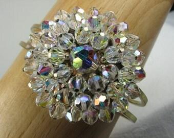 Crystal Bracelet, Clamper Bracelet, Gold Tone, Crystal AB