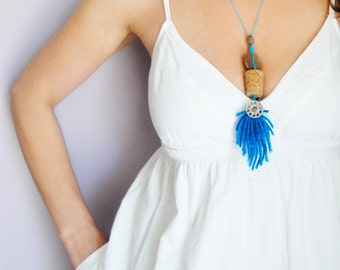 Cork Necklace - Long Necklace - Handmade Necklace - Ecofriendly Jewelry - Cork Jewelry - Wine Cork Necklace - Cork Pendant - Boho Jewelry