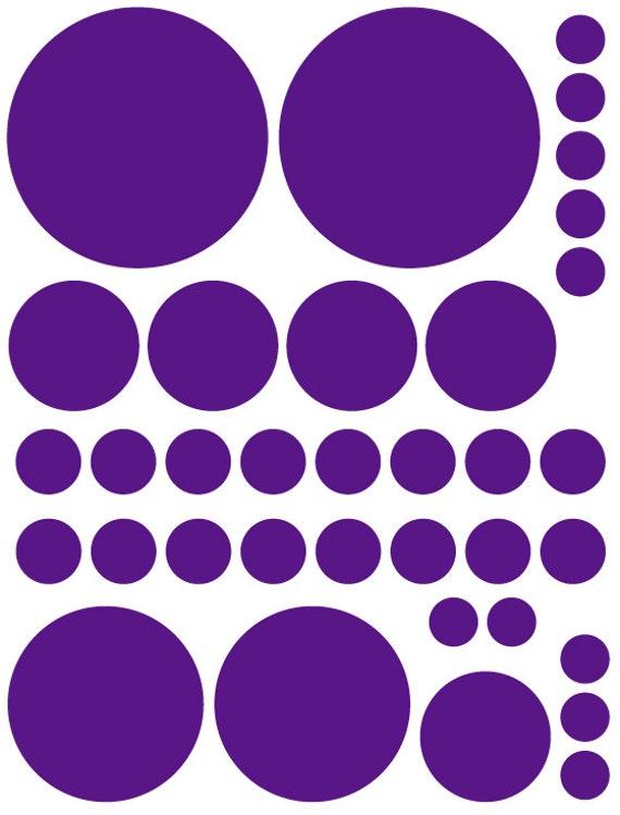 70 Dark Purple Vinyl Polka Dots Bedroom Wall Decals Stickers Teen Kids Baby Girl Nursery Dorm Room Removable Custom Made Easy to Install