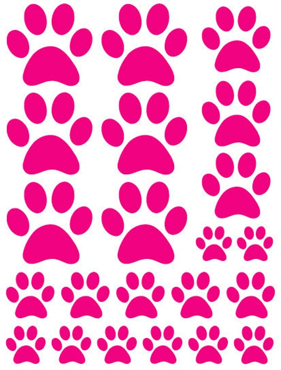 Hot Pink Paw Print Shaped Decals great for Teen, Kids, Baby, Nursery, Dorm Room Walls - Removable Custom Made -Super Easy to Install