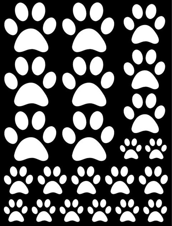 44 White Paw Prints Vinyl Wall Decals Stickers Bedroom Teen Kids Baby Dorm Room Cat Dog Pet Removable Custom Easy to Install Wall Art