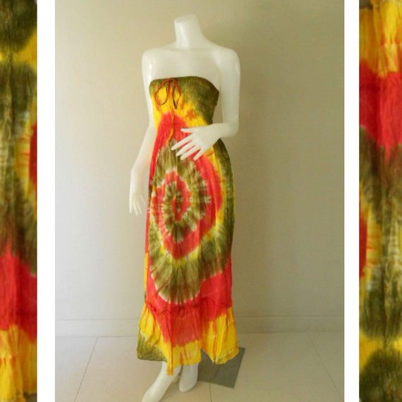 Plus size 2 in 1 Boho Hippie 100 % tie dye cotton smock tube dress maxi summer sundress comfy beach casual dress long skirt (TD 104)