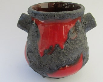 SALE Vintage Vase or pottery planter by Marei red - black Fat Lava - West German Pottery 70s