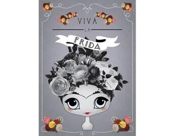 "Little Frida Kahlo ""Viva La Frida"" botanical typography Print A3 A4 8""x10"""