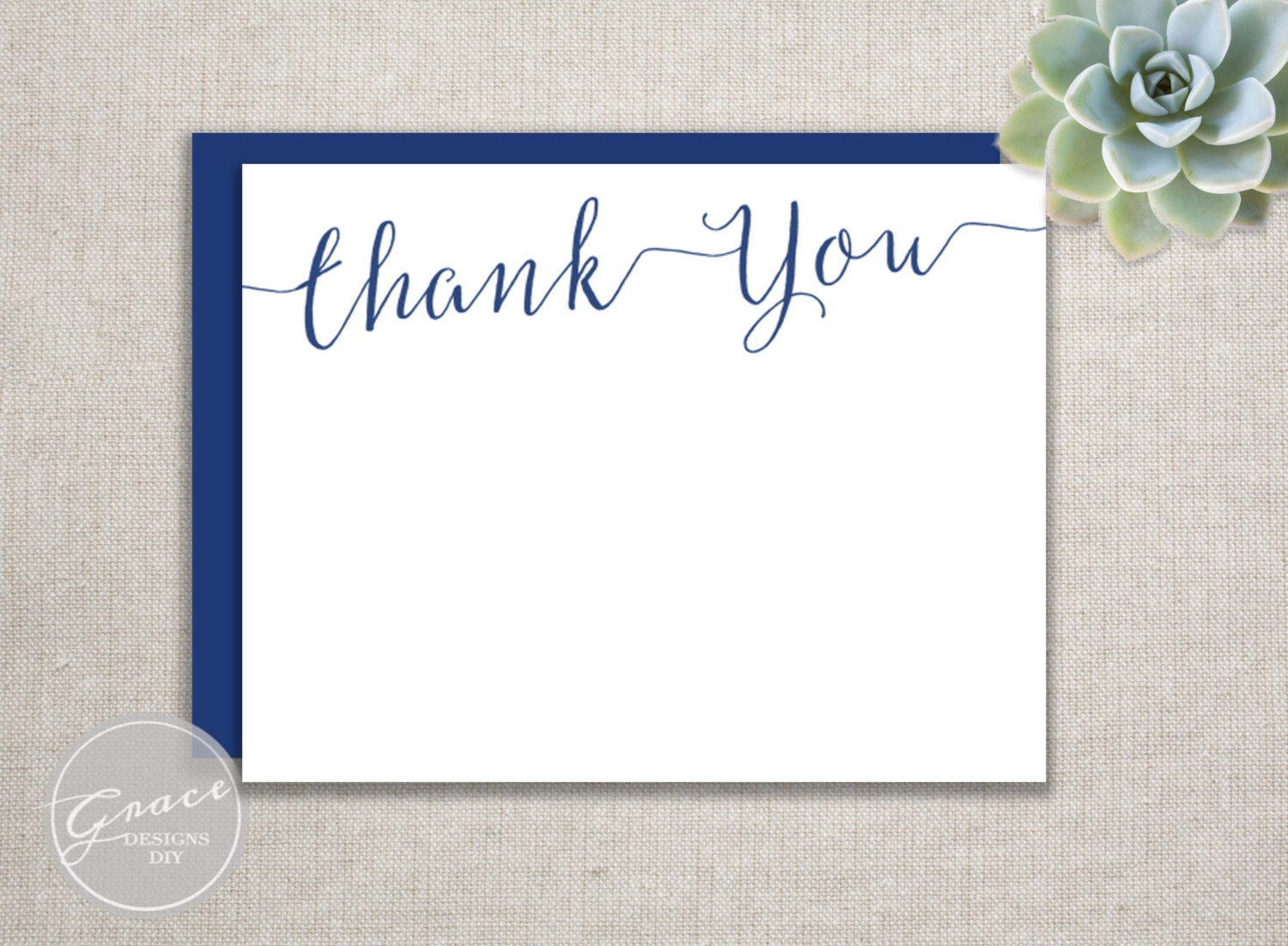 Navy Blue Flat Thank You Card Calligraphy Script Font