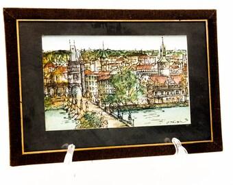 Lithographs/Serigraphs. Prague, Czech Republic. Hand colored lithographs. Czech Artist.