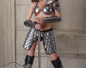 "Larp Female Fantasy Costume Cosplay Viking ""Heroine of Arena"" steel  armor: greaves"