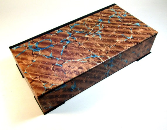 Decorative Boxes With Lids For Paper : Decorative box marbled paper vintage look brown blue