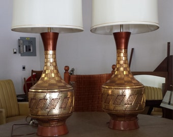 Pair Vintage 1960's Tesselated Lamps  Mid Century Modern Fortune Lamp Company Regency Signed & Dated MCM Metallic Gold Copper