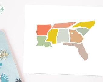Southeast I Heart Atlanta  - Hand Illustrated Print