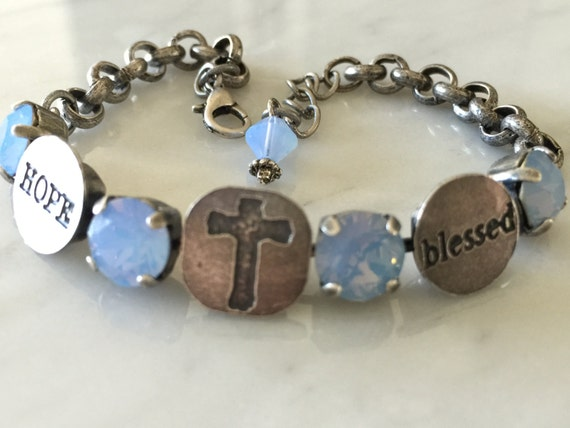Blessed Bracelet with Air Blue Opal Crystals, in Antique Silver